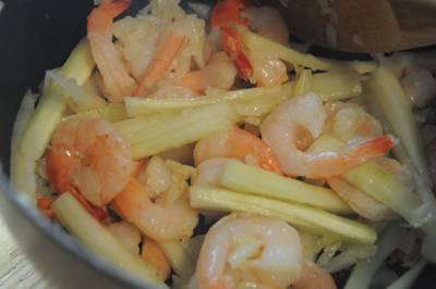 Add the lemon juice, salt and chili powder. Now add the stock and let ...